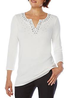 Rafaella Petite Long Sleeve Embellished Split Neck Top