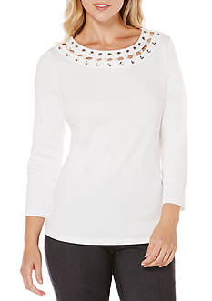 Rafaella Petite Size Solid Ribbon Detailed Neckline Top