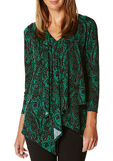Rafaella Petite Long Sleeve Ornamental Print Knit Top