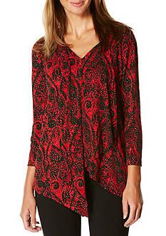 Rafaella Petite Long Sleeve Ornamental Print Knit Top