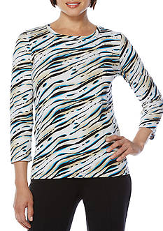 Rafaella Petite Size Painted Zebra Printed Top