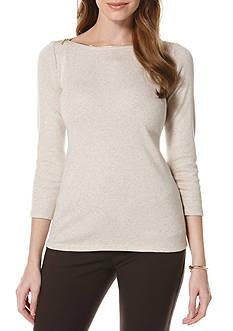 Rafaella Petite Size Zipper Neck Top