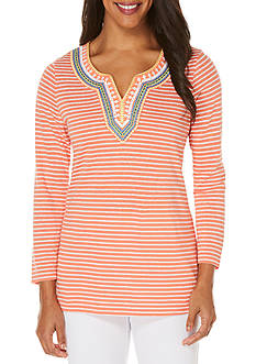Rafaella Petite Jersey Beach Stripe Top