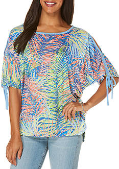 Rafaella Petite Jungle Cold Shoulder Top