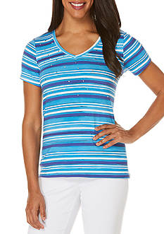 Rafaella Petite V-Neck Striped Tee