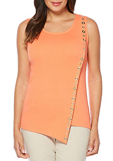 Rafaella Petite Sleeveless Asymmetrical Top With Grommets
