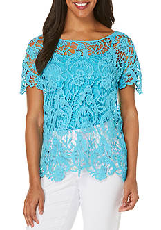 Rafaella Petite Short Sleeve Crochet Top