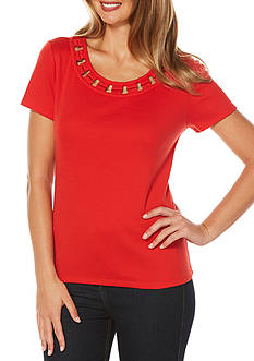 Rafaella Petite Short Sleeve Lattice Trim Knit Top