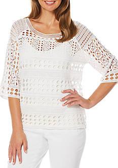 Rafaella Petite Size Crochet Knit Top