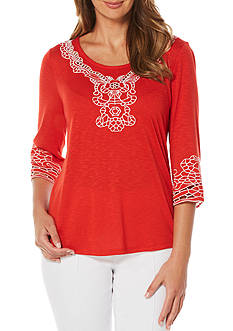 Rafaella Petite 3/4 Bell Sleeve Embroidered Top