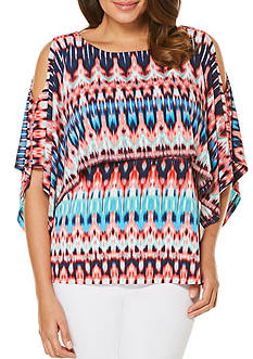 Rafaella Petite Ibiza Ikat Cold Shoulder Top