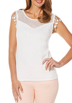 Rafaella Petite White on White Lace Top