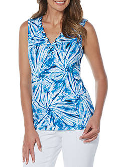 Rafaella Petite Tie Dye Swirls Sleeveless Top