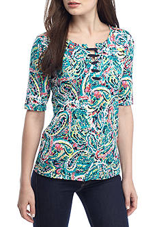 Rafaella Petite Size Lace Up Neckline Paisley Printed Top
