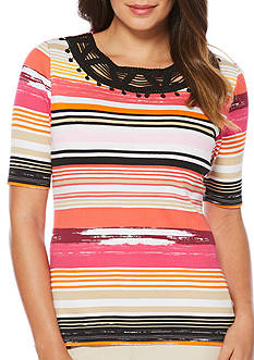 Rafaella Petite Spring Break Stripe Top