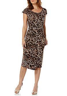 Rafaella Petite Size Leopard Print Side Rouched Dress