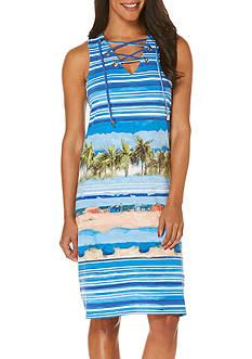Rafaella Petite Sleeveless Scenic Stripe Dress