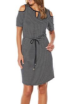 Rafaella Petite Resort Striped Cold Shoulder Dress