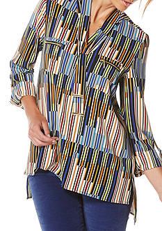 Rafaella Petite Size Striped Roll Tab Sleeve Tunic