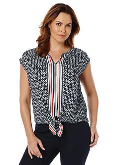 Rafaella Petite Mixed Print Tie Front Top