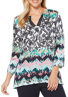 Rafaella Petite Size Printed Top with Split Neckline