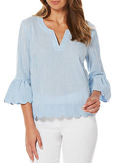 Rafaella Petite Striped Cotton Top with Tulip Sleeves