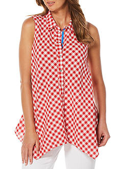 Rafaella Sleeveless Gingham Blouse