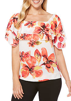 Rafaella Petite Burst Blooms Short Sleeve Top