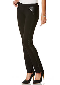 Rafaella Pleather Trim Ponte Pants
