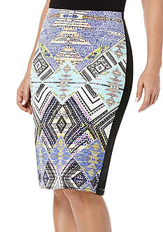 Rafaella Printed Pencil Skirt