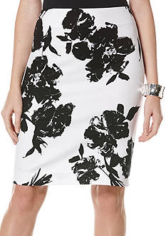 Rafaella Flower Print Pencil Skirt