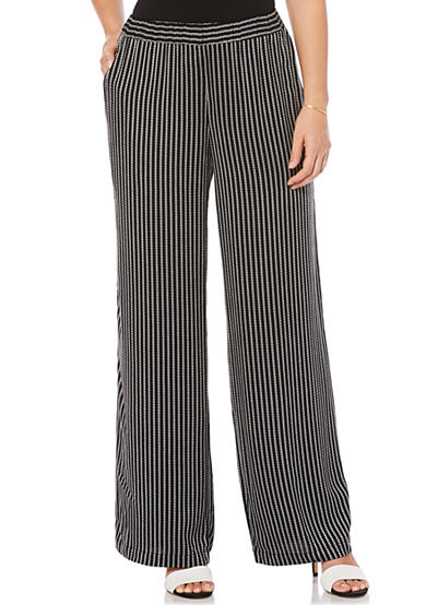 Rafaella Woven Stripe Texture Pull on Pant