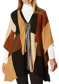 Rafaella Color Blocked Poncho