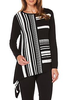Rafaella Stripe Drape Pullover Sweater