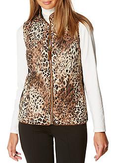 Rafaella Animal Print Puffer Vest