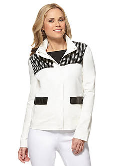 Rafaella Perforated Faux Leather Jacket