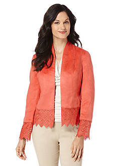 Rafaella Faux Suede Perforated Jacket