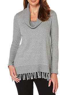 Rafaella Cowl Neck Fringe Sweater
