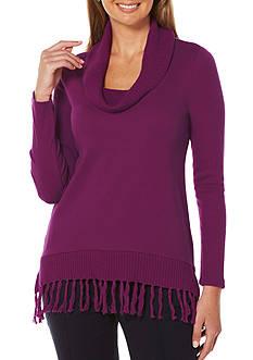 Rafaella Cowl Neck Fringe Sweater