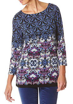 Rafaella Printed Scoop Neck Top