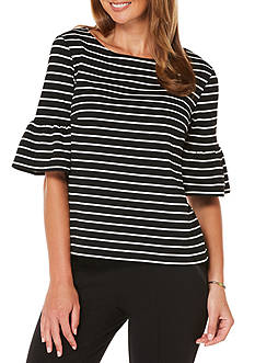 Rafaella Yarn Stripe Ponte Top