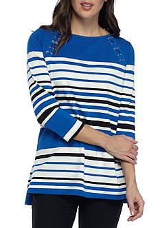 Rafaella Stripe Lace Up Tunic