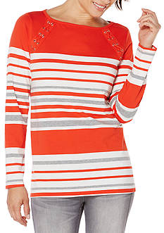 Rafaella Stripe Lace Up Tunic