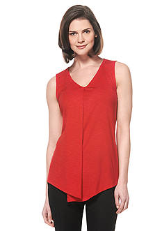Rafaella Sleeveless Drapey Slub Top