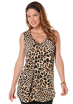 Rafaella Animal Print Draped Slub Top