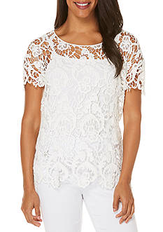 Rafaella Short Sleeve Crochet Top