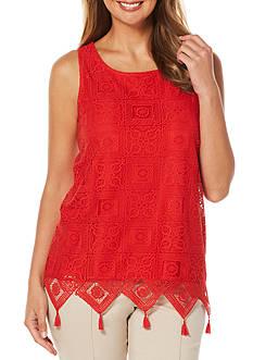 Rafaella Lace Overlay Knit Top