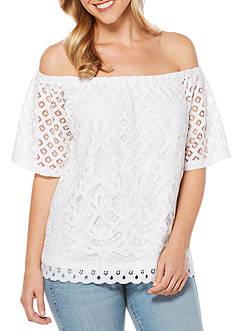 Rafaella Off The Shoulder Lace Knit Top