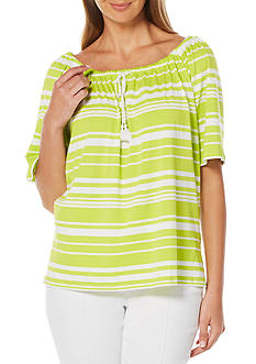 Rafaella Striped Peasant Top