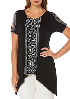 Rafaella Embroidered Cold Shoulder Knit Top